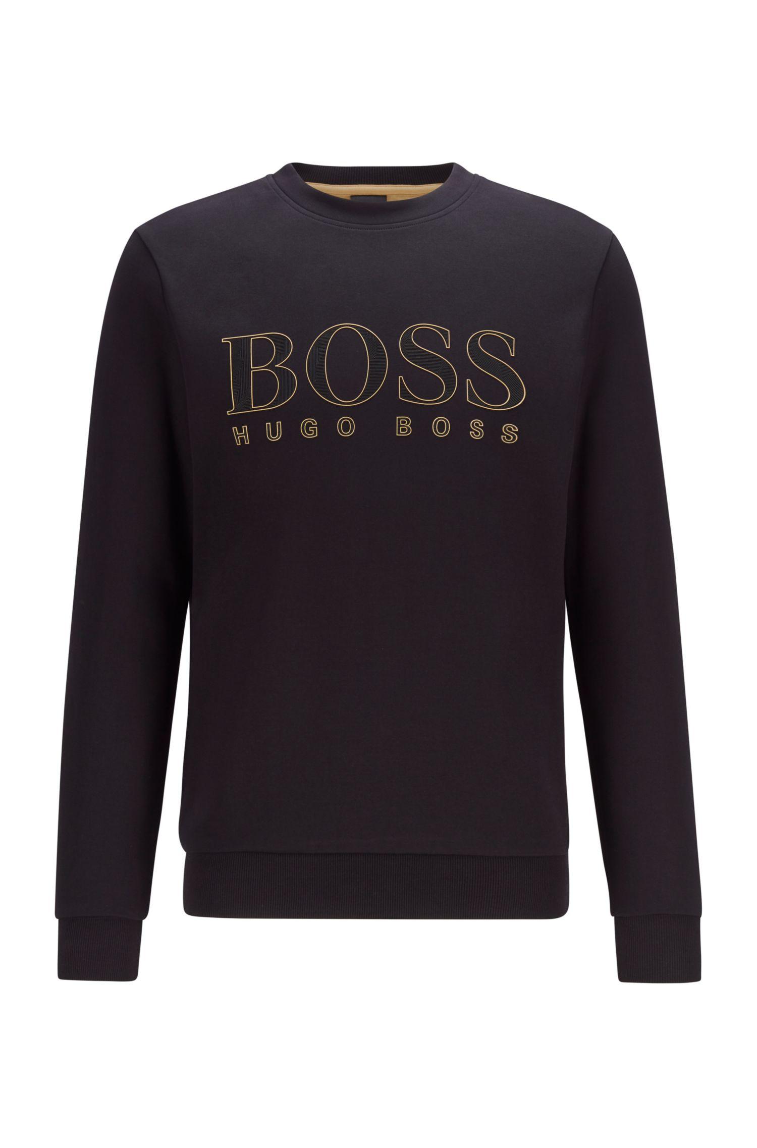 Slim fit sweatshirt in woven cotton blend with printed logo BOSS | Sweatshirt | 50448186001