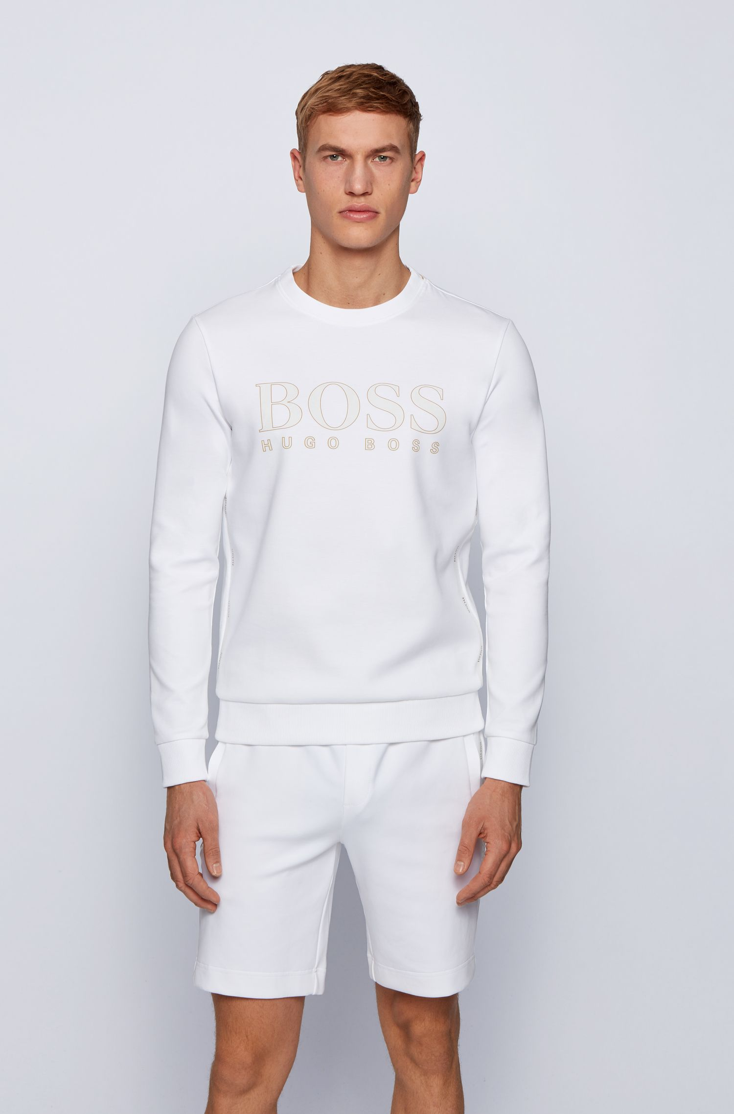 Slim fit sweatshirt in woven cotton blend with printed logo BOSS | Sweatshirt | 50448186100