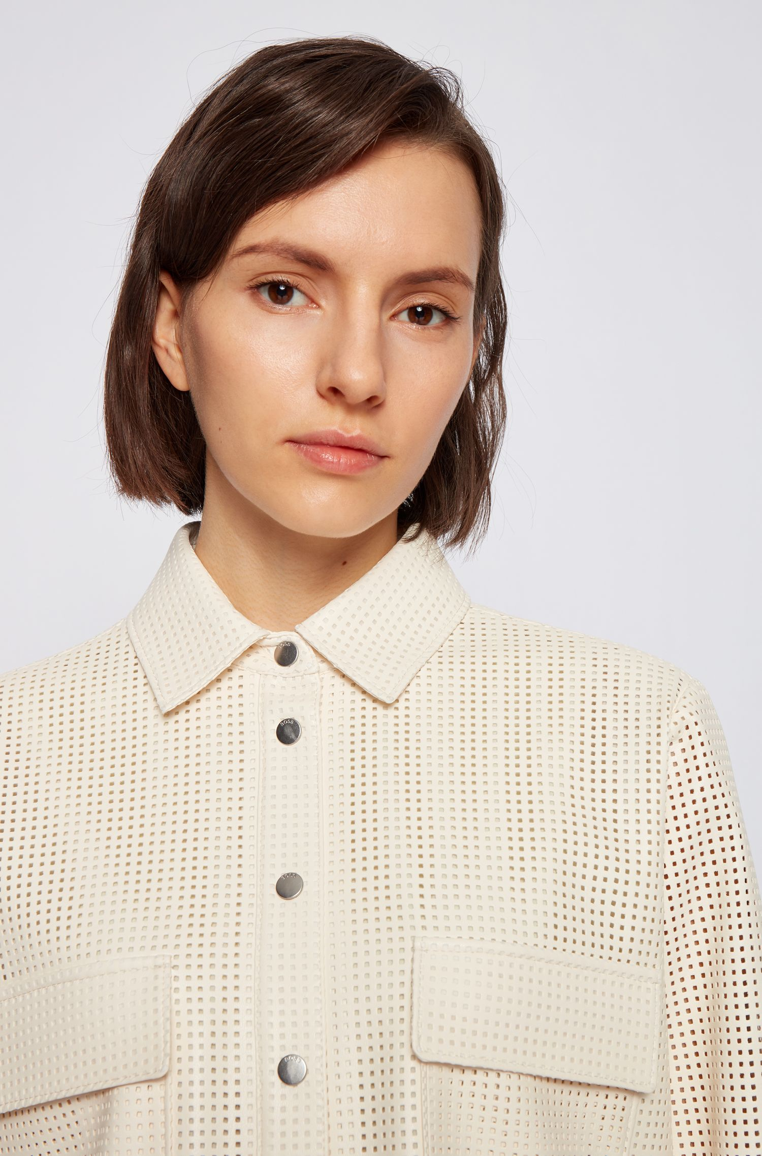 Perforated faux leather blouse with press studs BOSS | Blouses | 50450605118