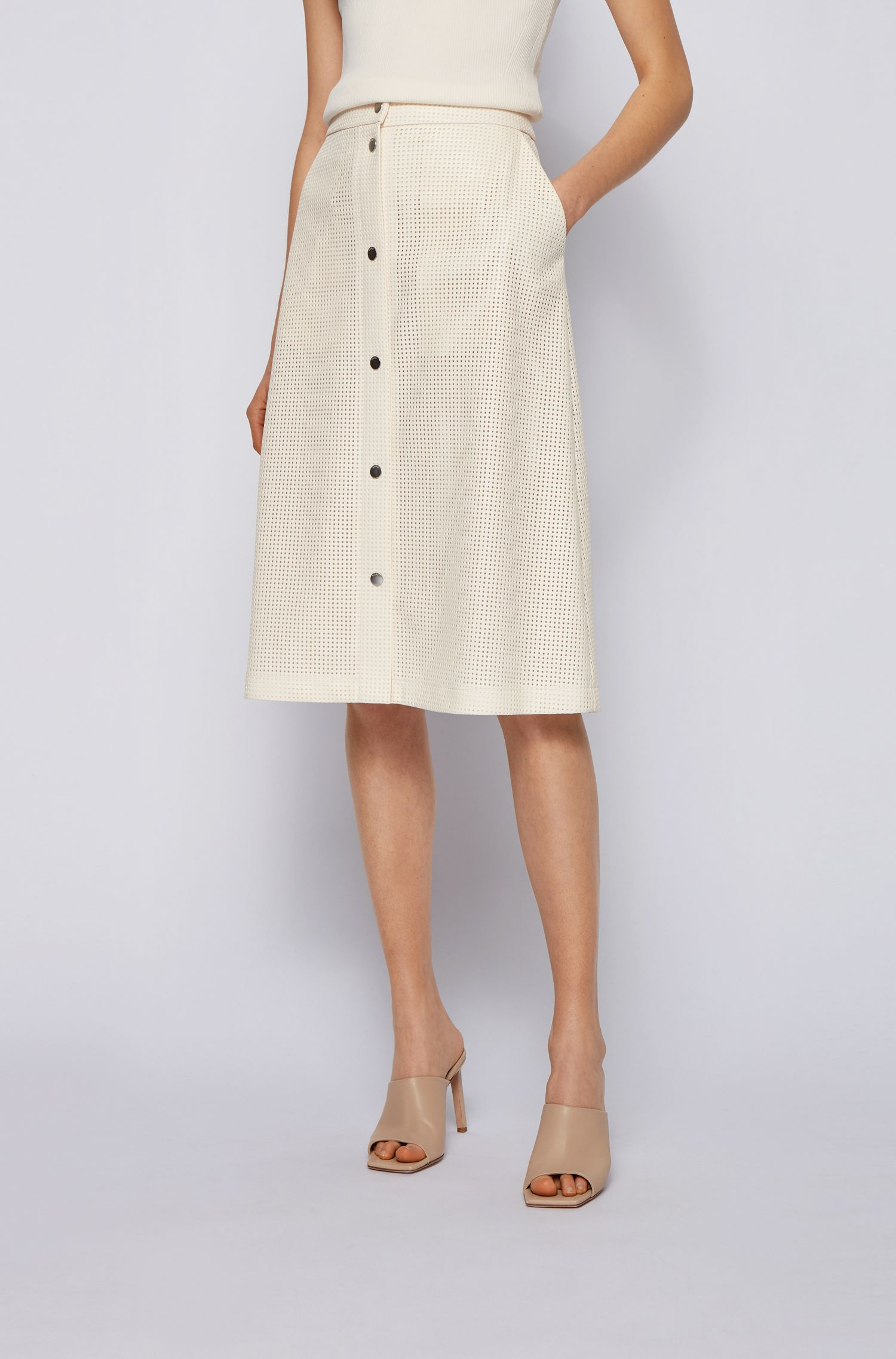 A-line skirt in perforated faux leather with buttons along the length BOSS | Skirts | 50450606118