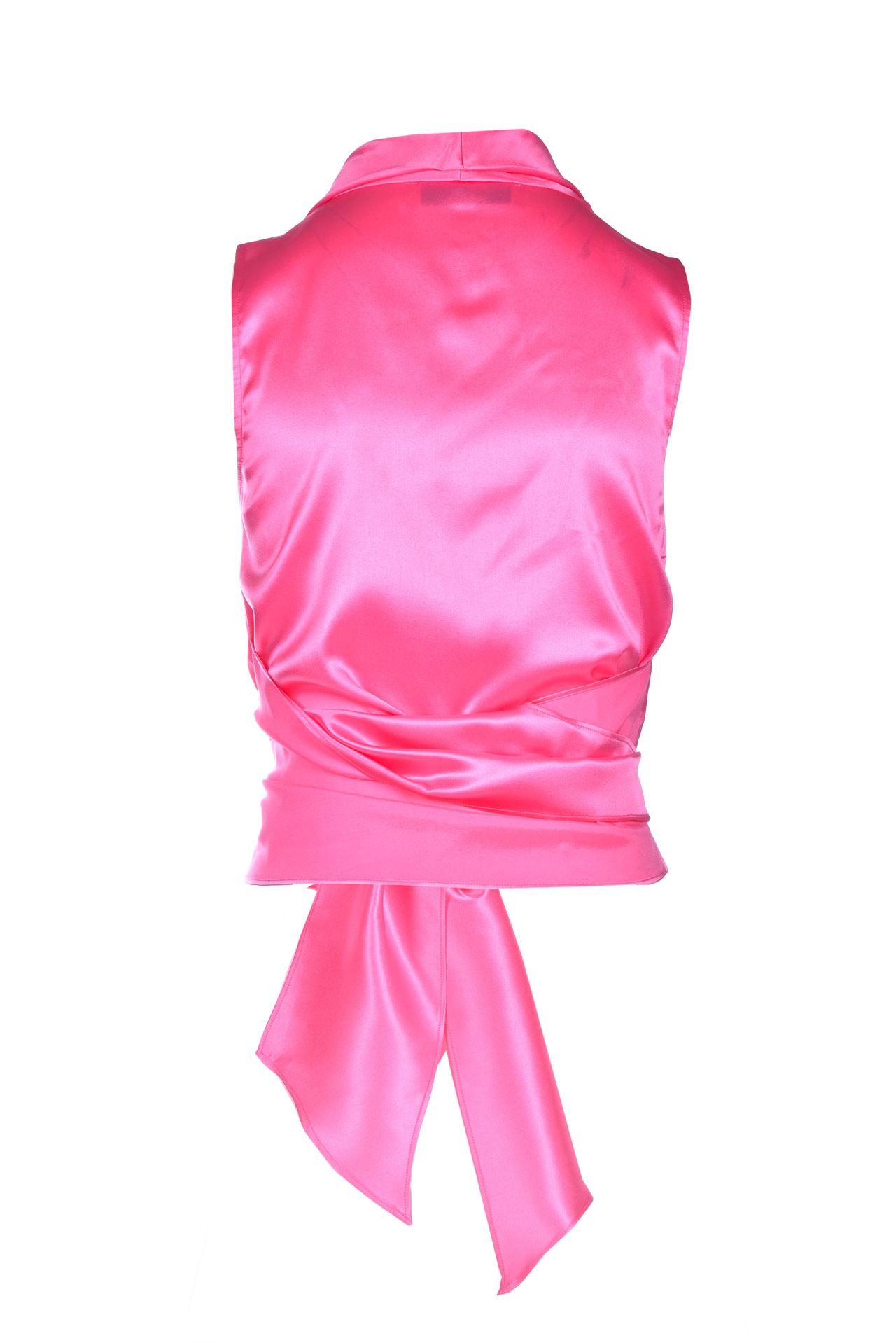 Shiny silk satin top with adjustable sash JUCCA   Tops   J3312017/L1701