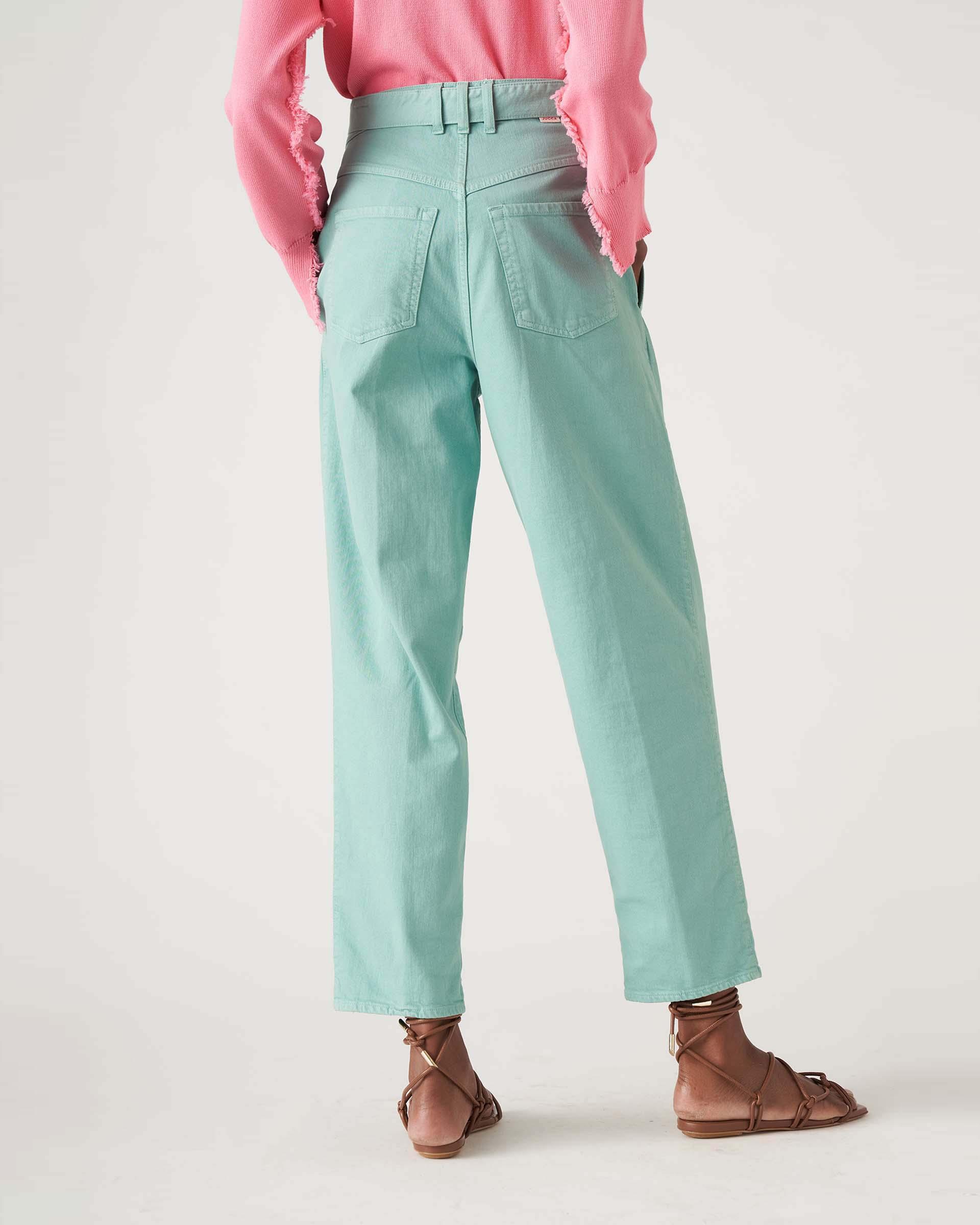 Pantalone in denim aurora vita alta con cintura a fusciacca JUCCA | Pantaloni | J3314019314
