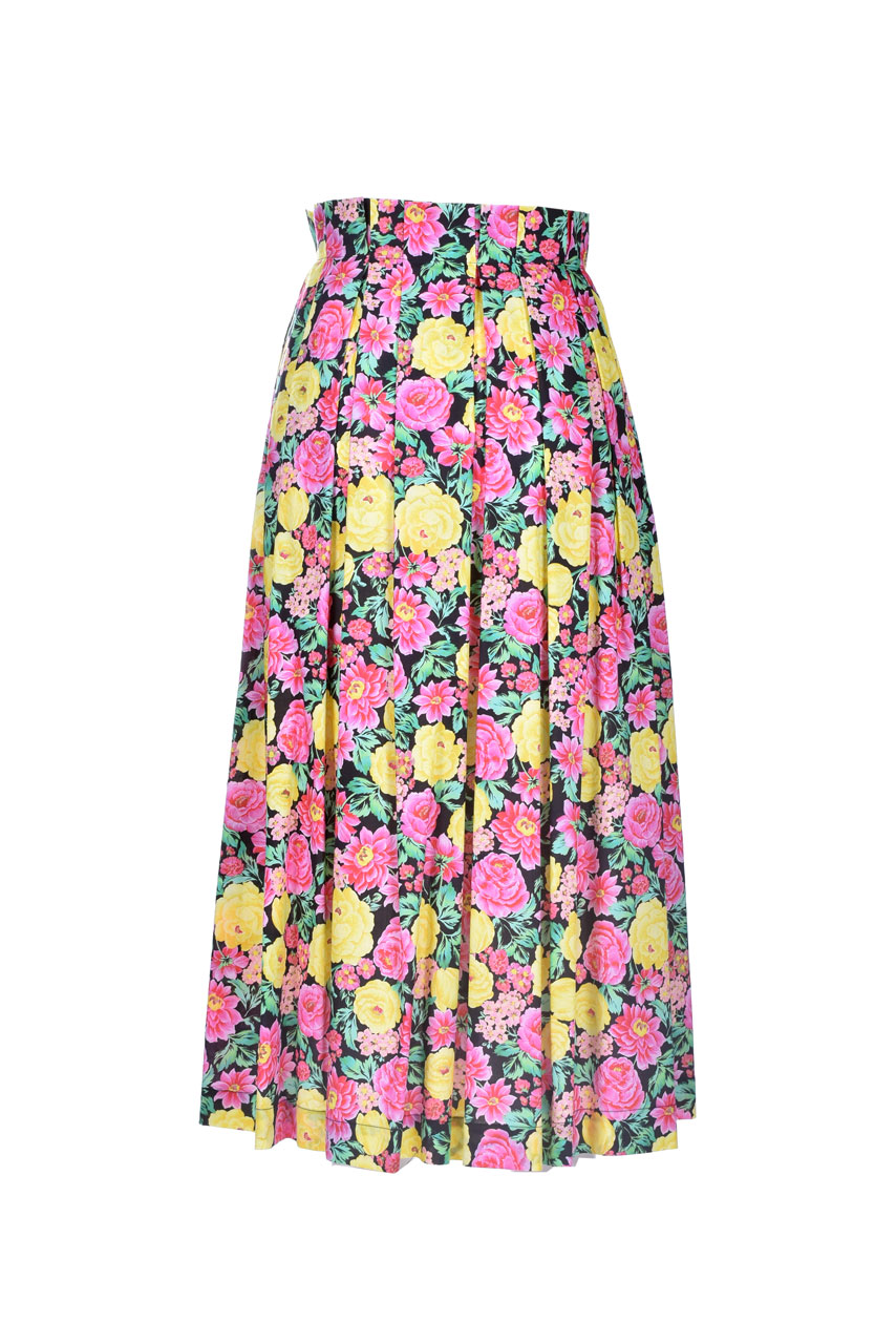 High-waisted midi skirt with pleats in floral cotton JUCCA | Skirts | J3315008003