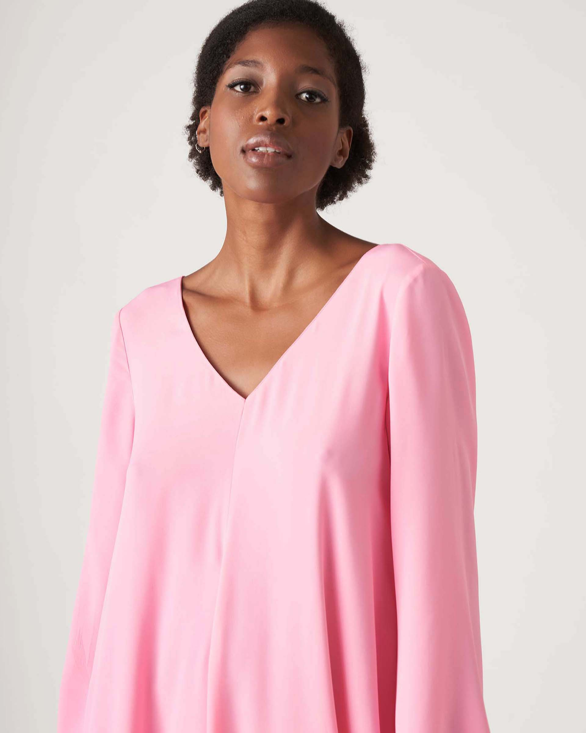 V-neck tunic dress in pale pink crepe JUCCA |  | J3317010358