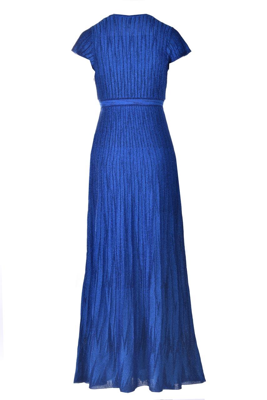 Long electric blue lamé knitted dress M MISSONI      2DG00584/2K008YL703X