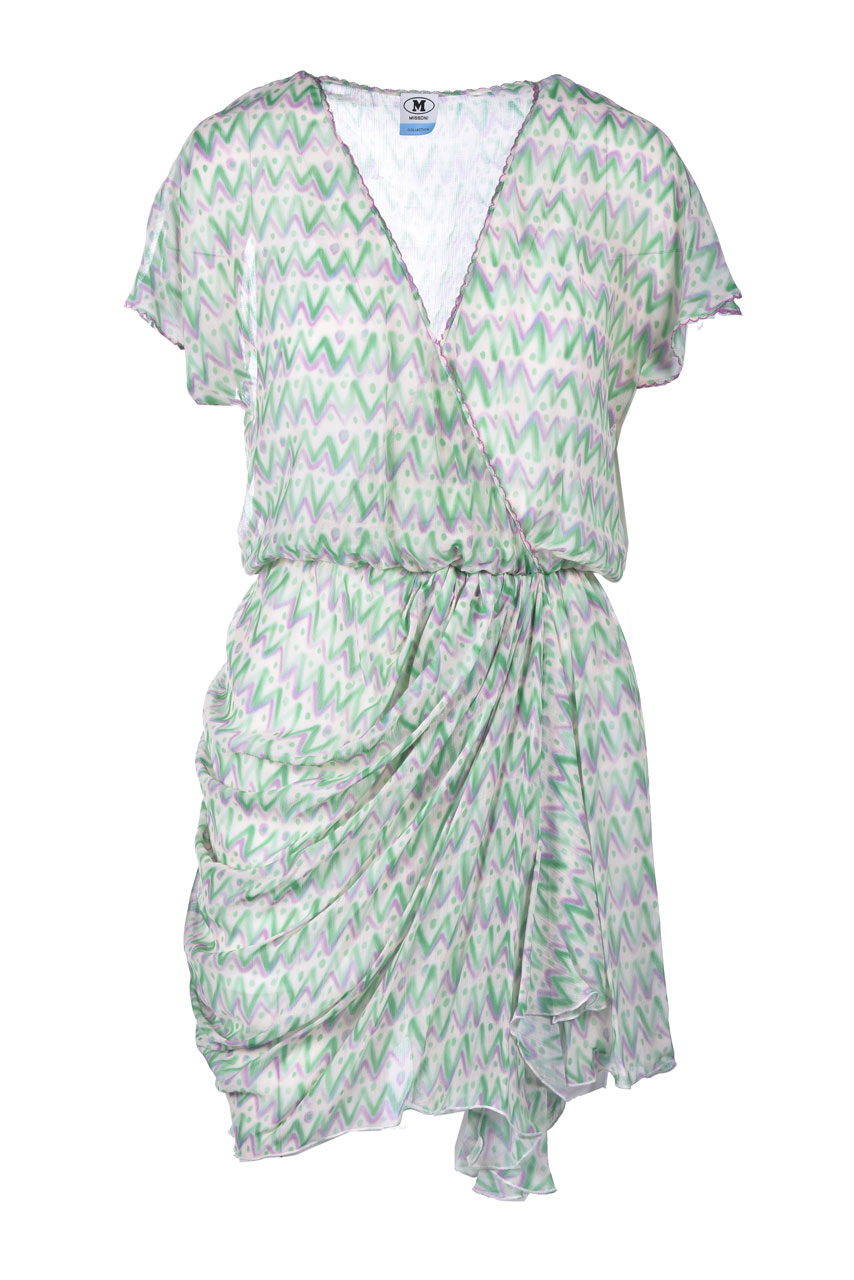 Vestito corto in seta verde con drappeggio M MISSONI | Vestiti | 2DG00611/2W007BS3089