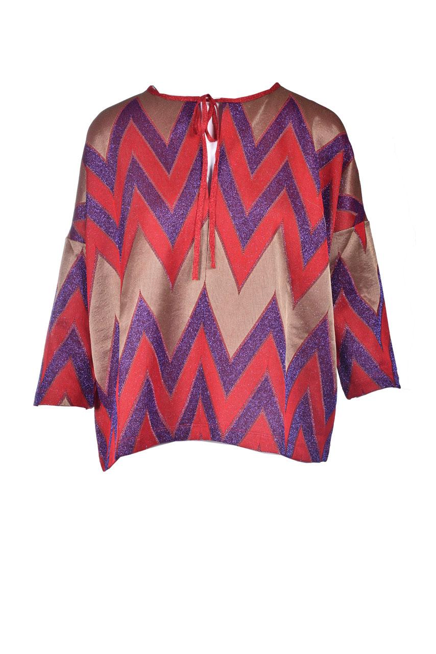 Missoni red zig zag lurex knit blouse M MISSONI | Blouses | 2DJ00141/2J005ML401Q