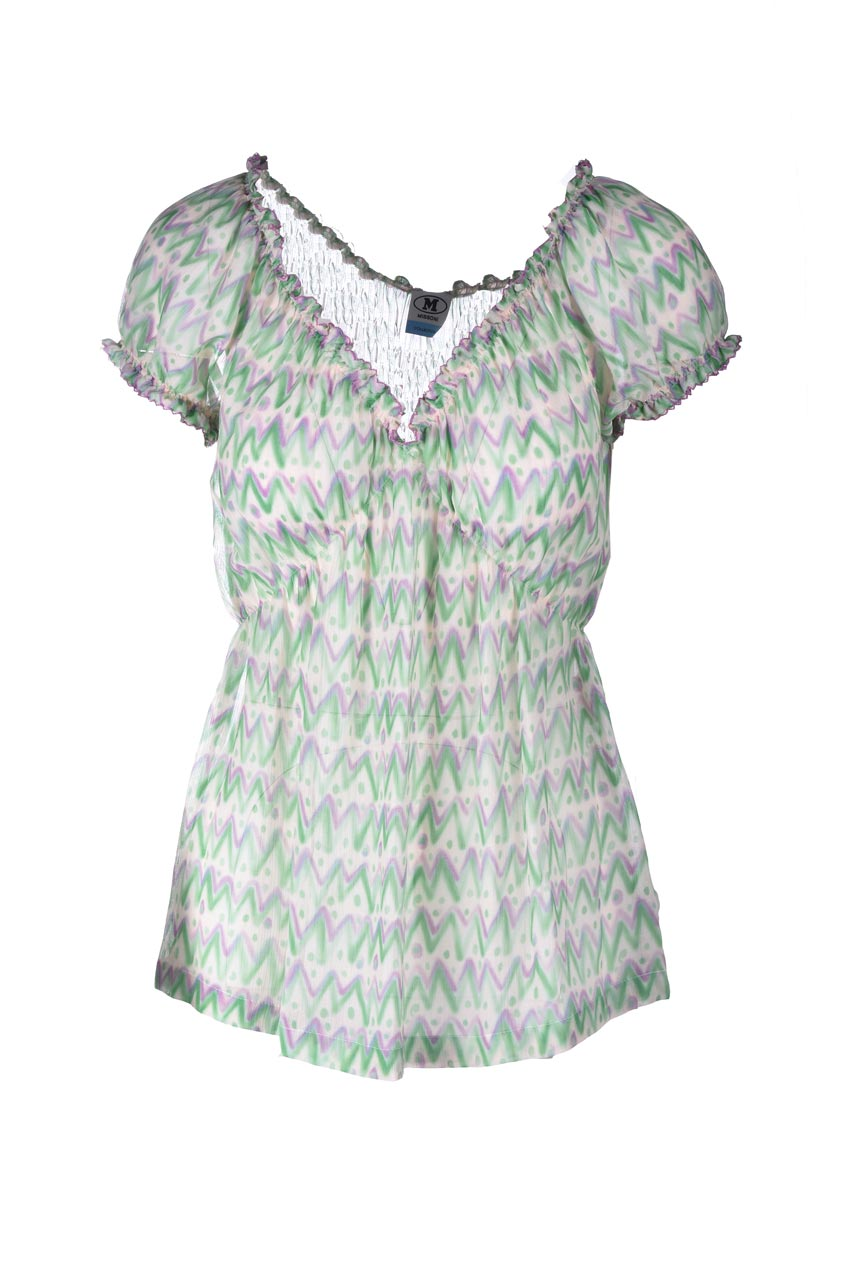 Blouse in silk crepe with green and lilac Missoni weave M MISSONI | Blouses | 2DJ00144/2W007BS3089