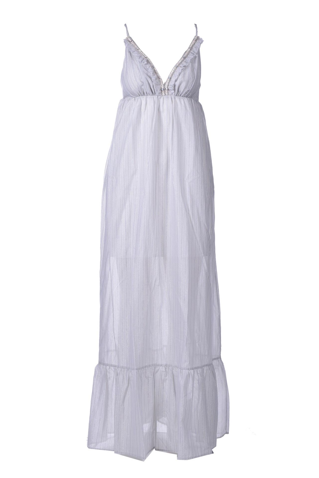 Long striped empire dress with straps MANILA GRACE      A178CIMA003