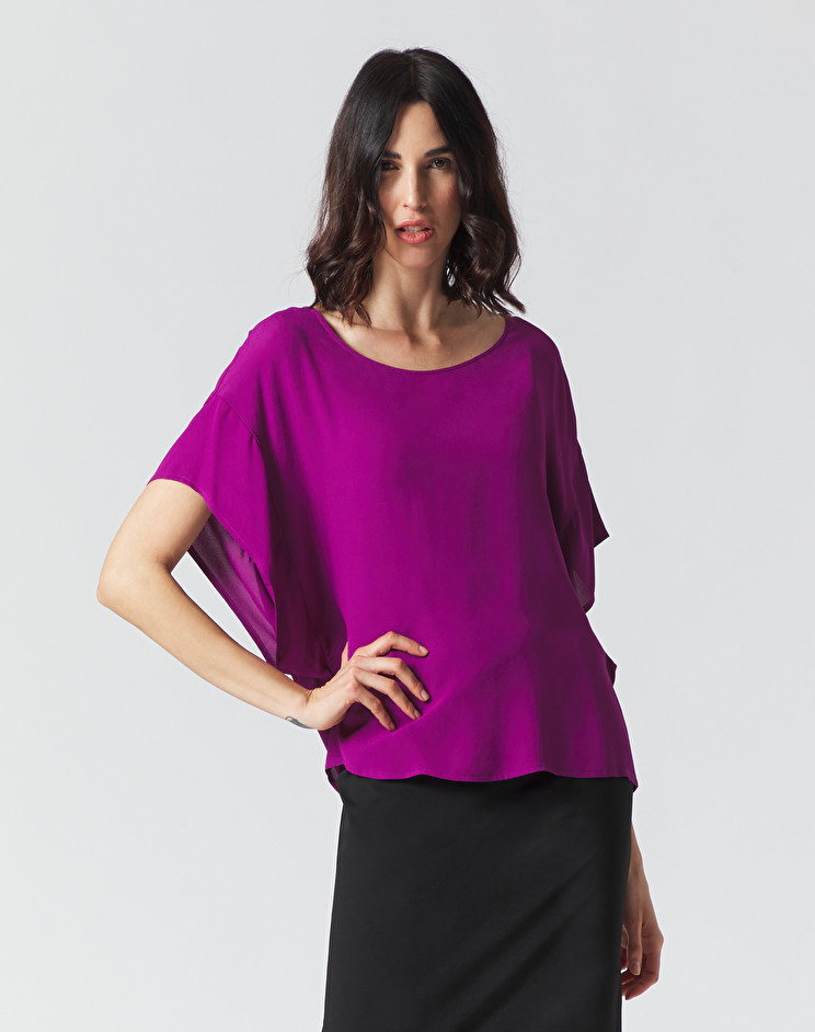 Blusa oversize con scollo ritondo in crepe color uva MANILA GRACE | Bluse | C111VUMA004
