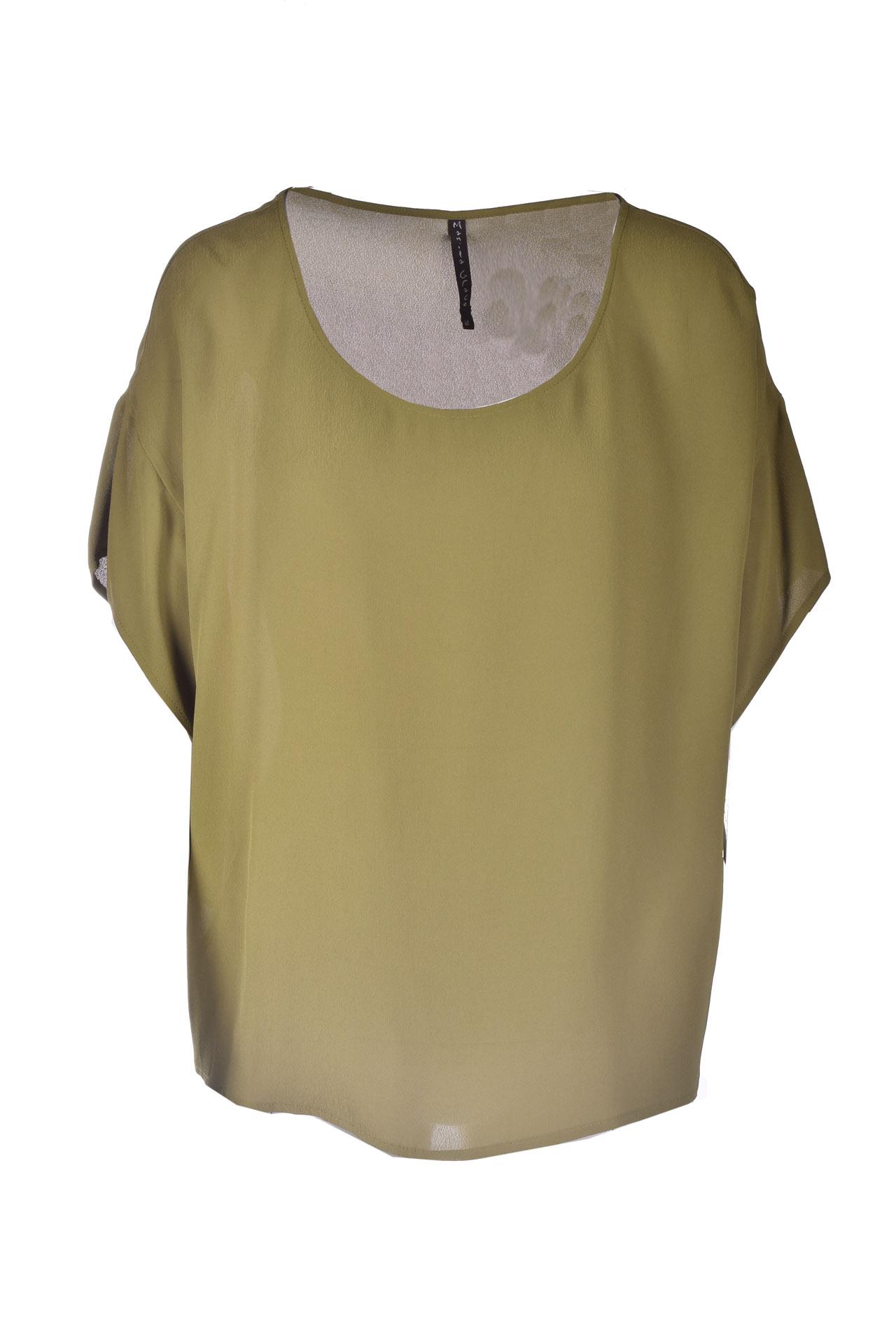 Blusa oversize con scollo ritondo in crepe verde militare MANILA GRACE | Bluse | C111VUMA014