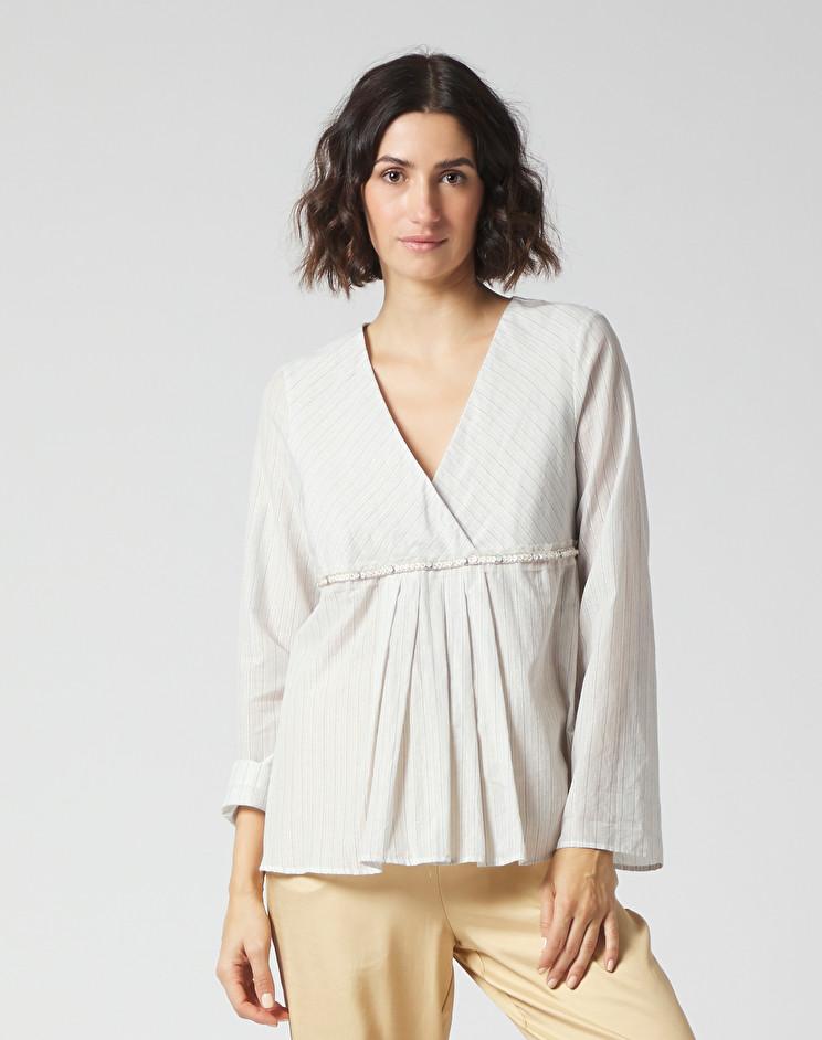 Lurex striped blouse with crossed neckline MANILA GRACE | Blouses | C184CIMA003
