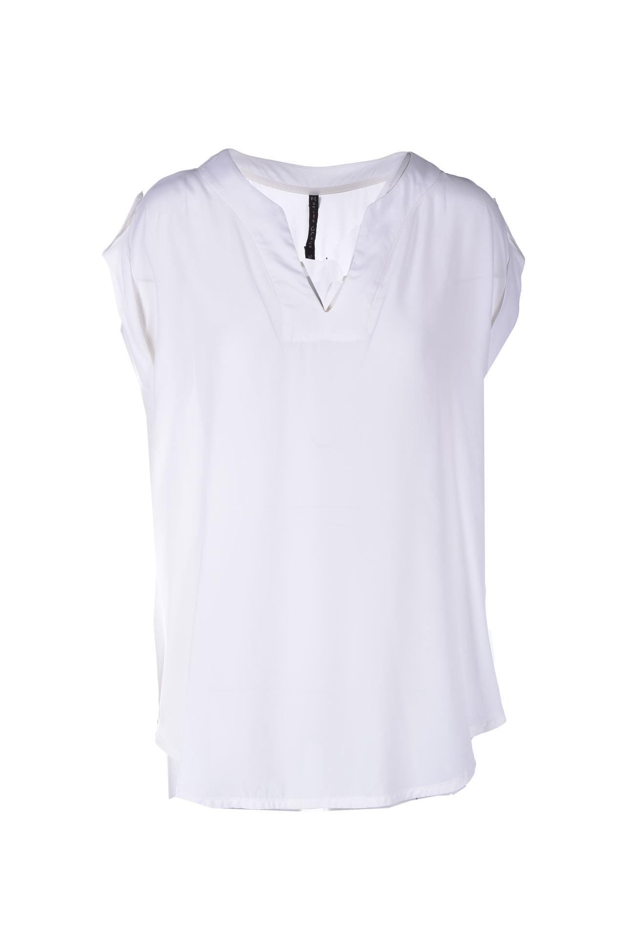 Sleeveless blouse in white crepe de Chine MANILA GRACE | Blouses | C193VCMA043