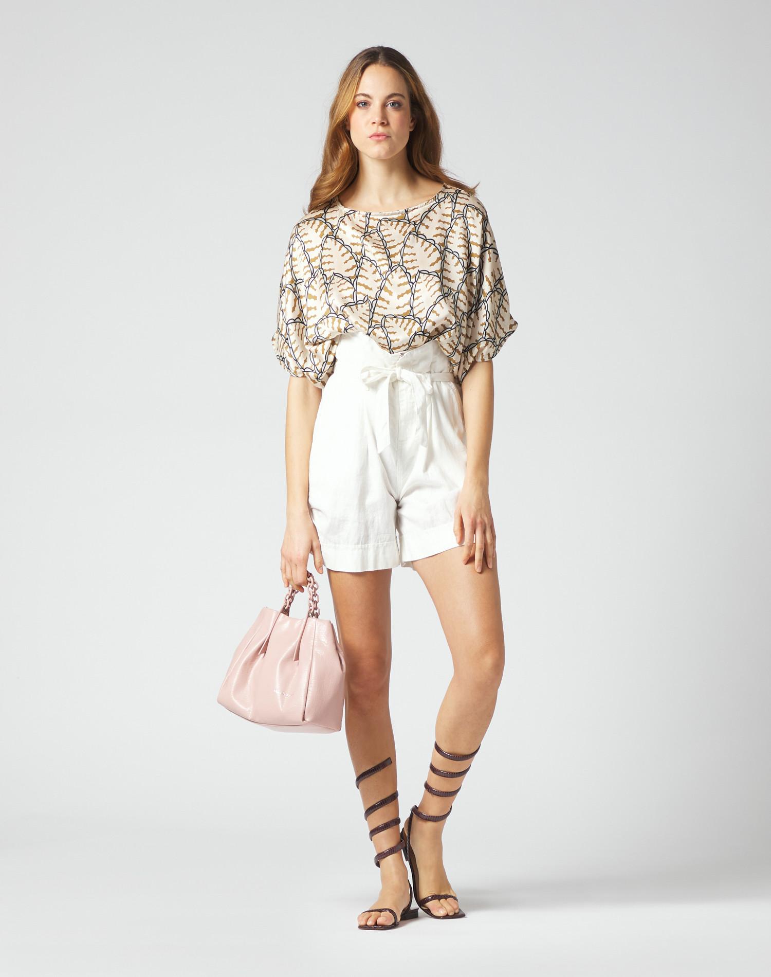 Oversized box blouse in printed silk MANILA GRACE | Blouses | C247SSMA014