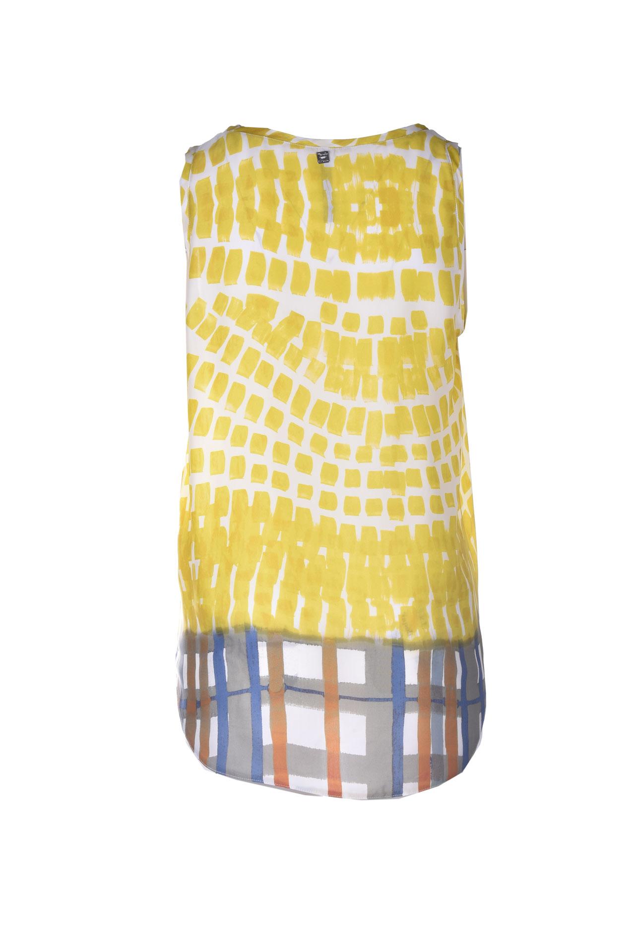 Long top in lime printed crepe MANILA GRACE   Tops   C331VSMA012