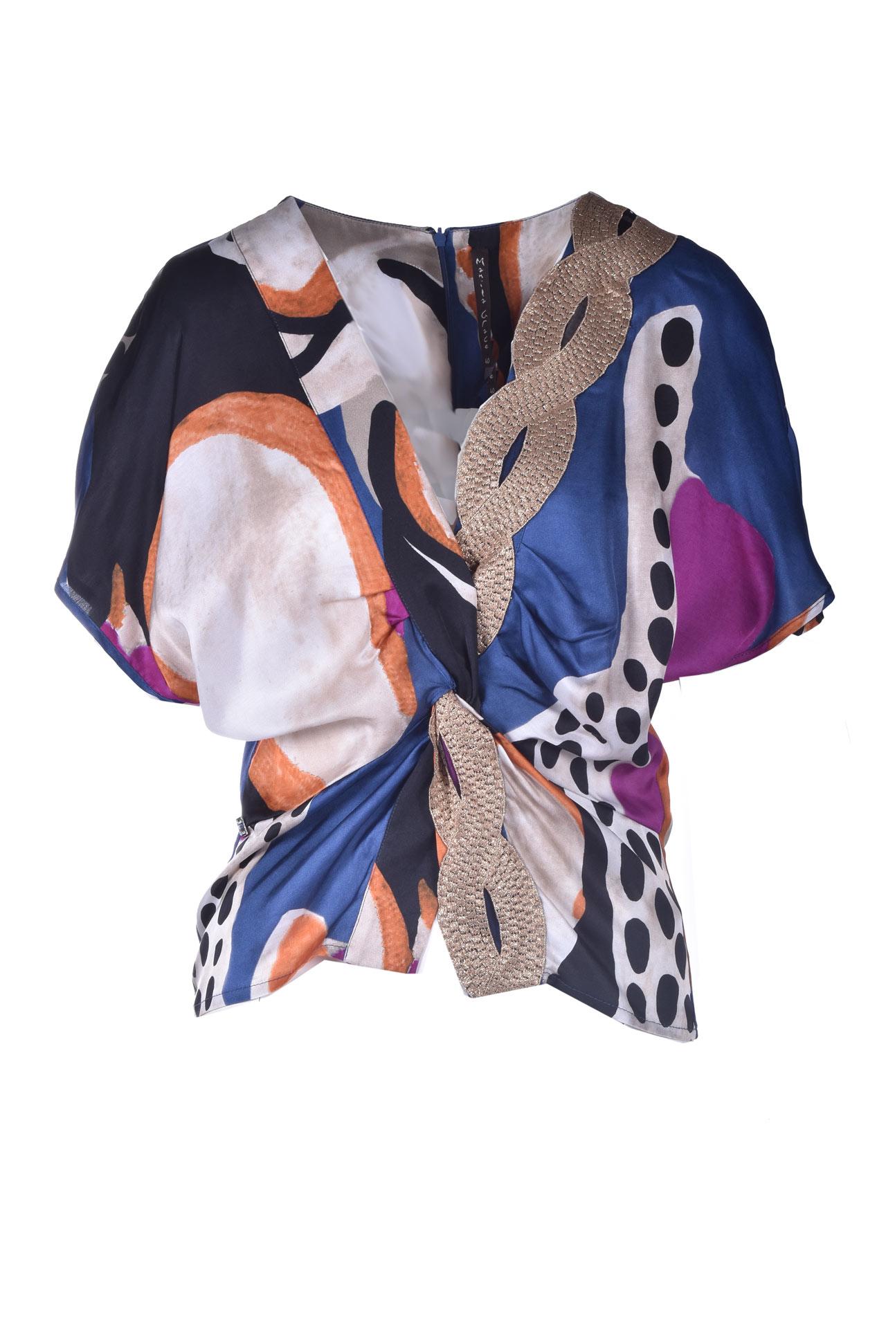 Blouse with knot and V-neck MANILA GRACE | Blouses | C395VSMA011