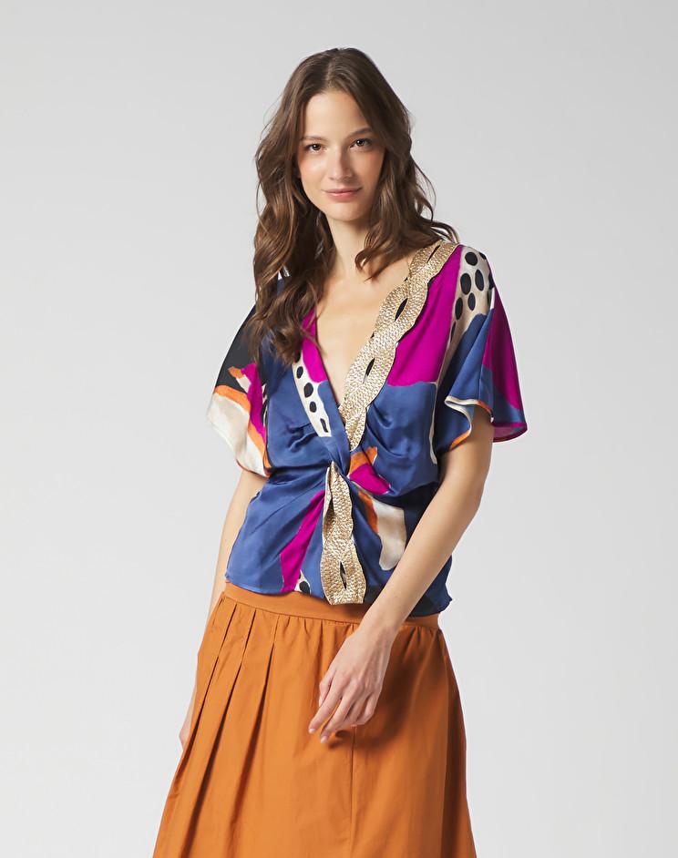 Blusa con nodo e scollo a V MANILA GRACE | Bluse | C395VSMA011