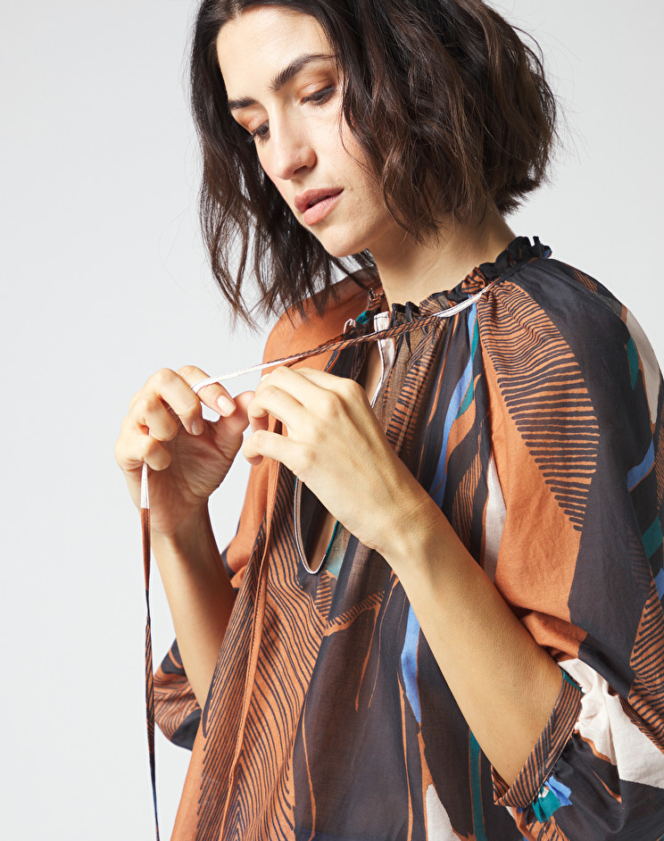 Ethnic voile blouse with balloon sleeves MANILA GRACE | Blouses | C411CSMA045