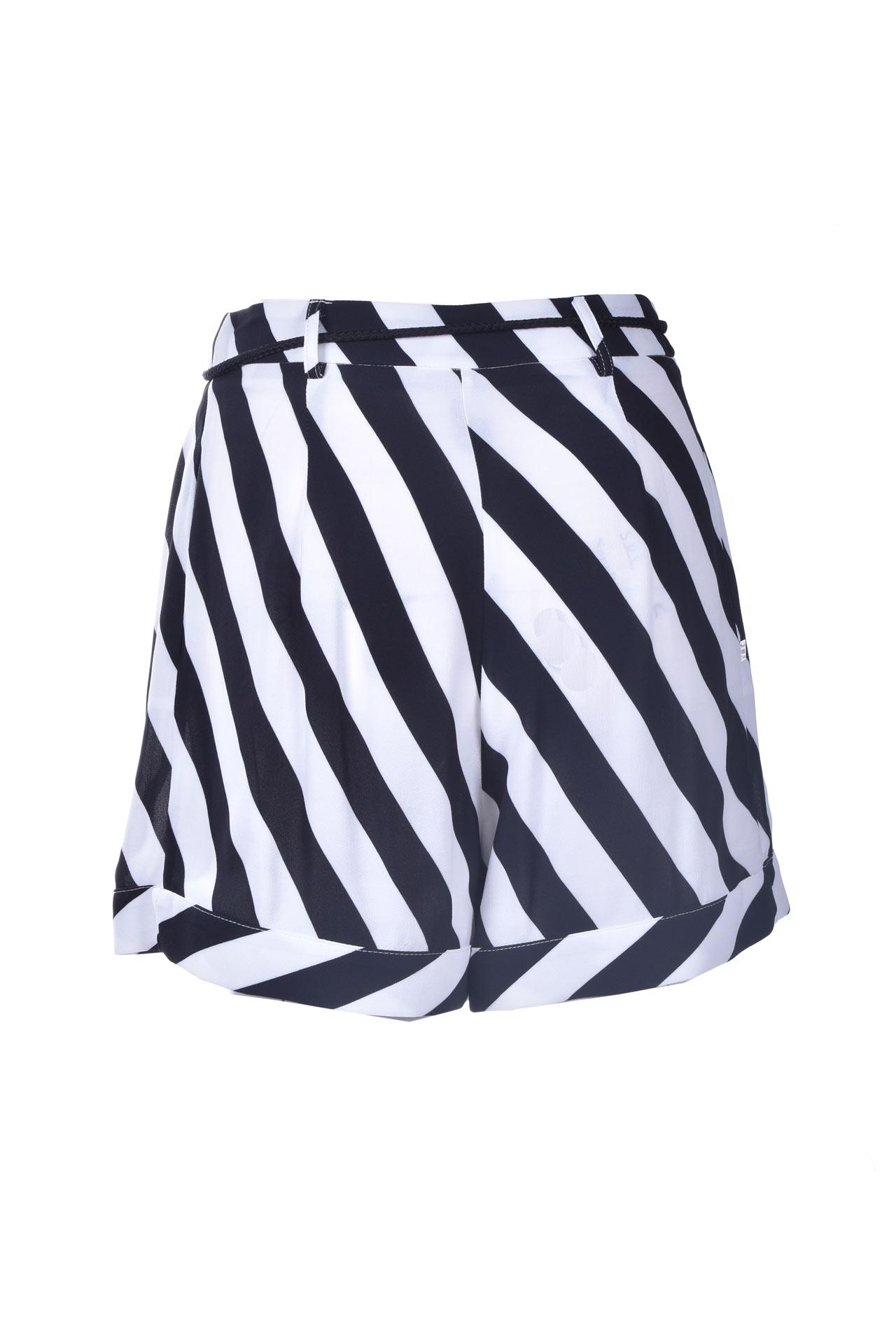 Shorts morbido a righe bianche e nere MANILA GRACE   Shorts   P039VIMA028