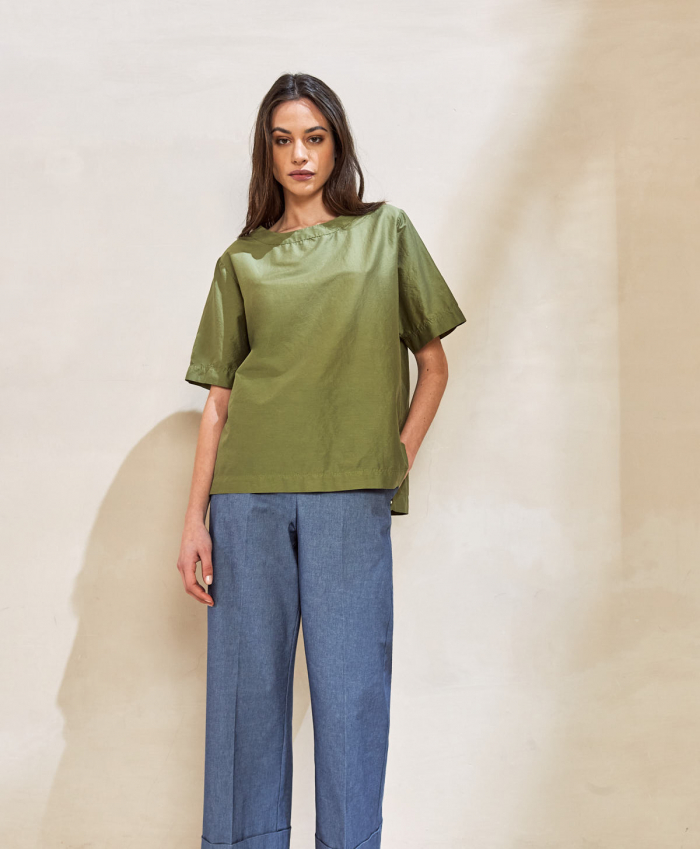 Blusa in cotone e seta verde salvia MOMONI | Bluse | MOBL0010730