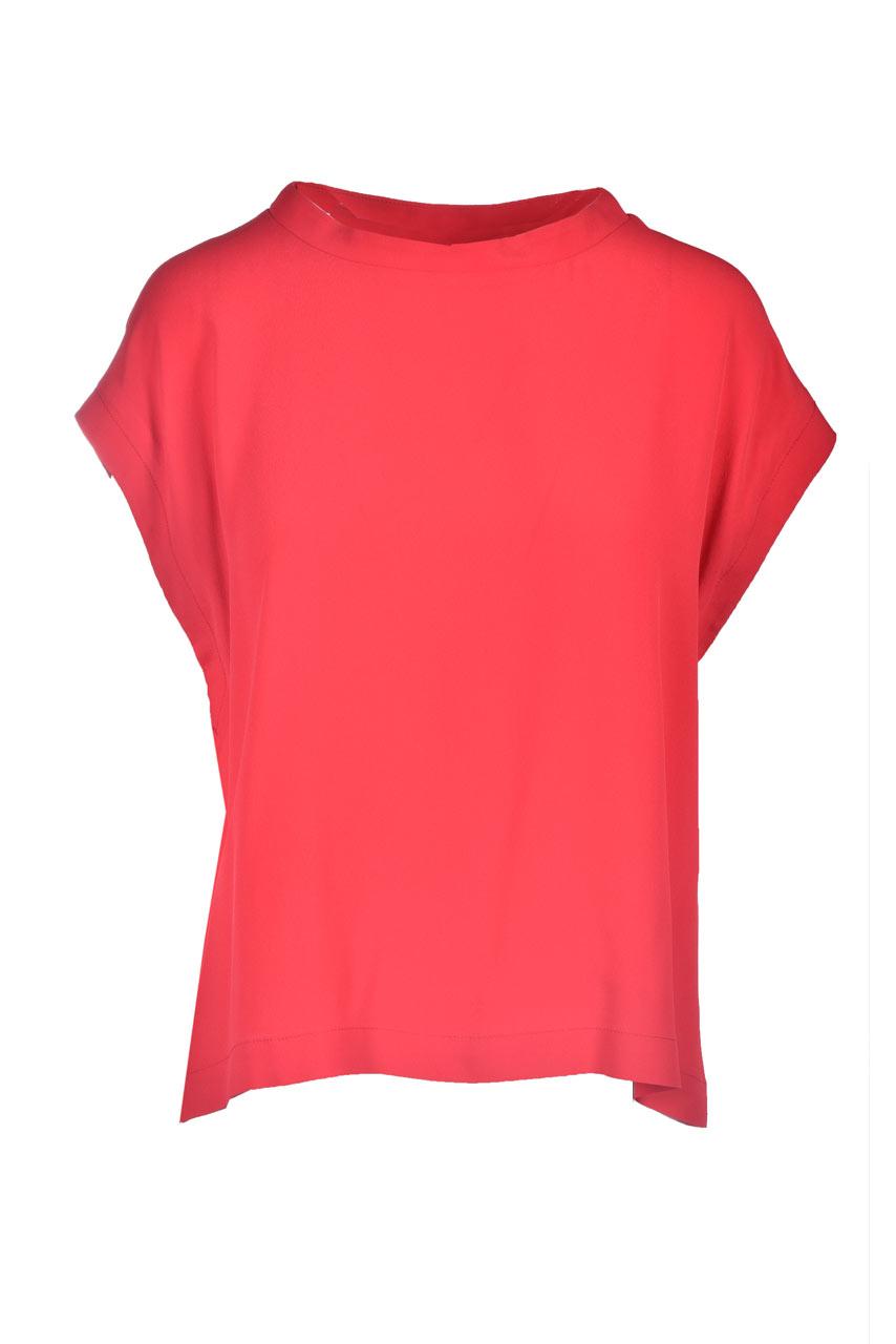 Blouse in red Habutay silk MOMONI | Blouses | MOBL0050350