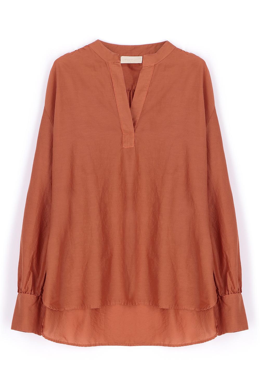 Rust silk blend blouse MOMONI | Blouses | MOBL0060351