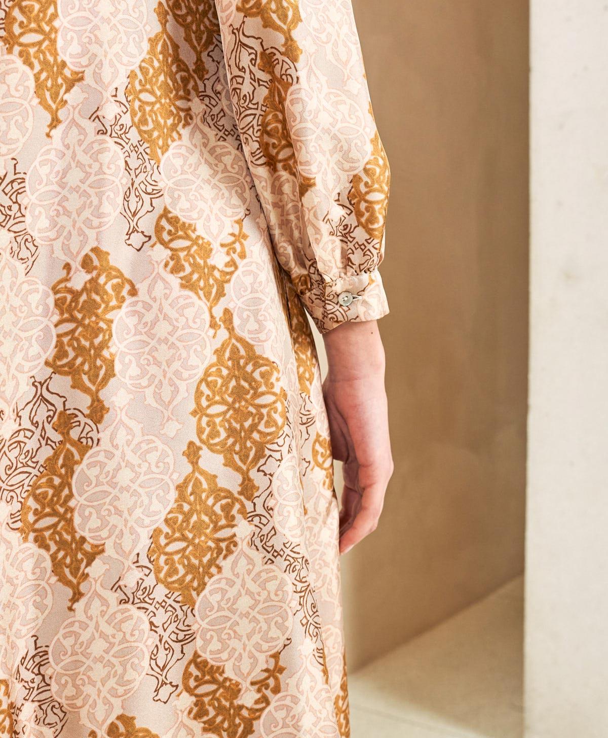 Long dress in powder pink silk twill and goose bill MOMONI |  | MODR0024126