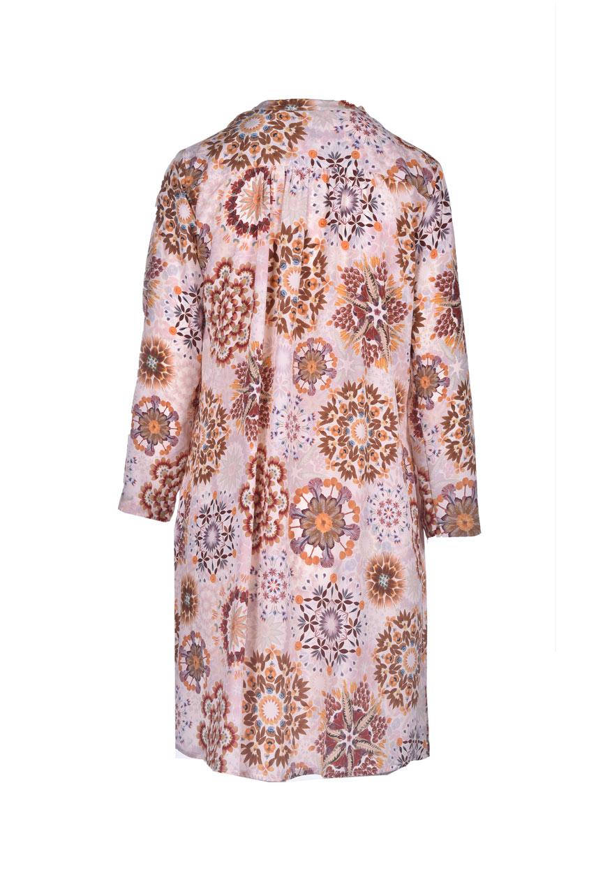 Vestito in crepe de chine con stampa panna e rosa MOMONI | Vestiti | MODR0051028