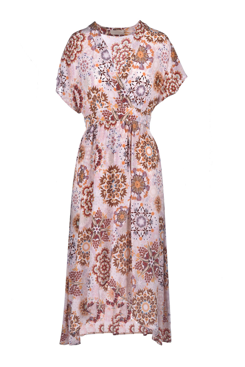 Crepe de chine dress with cream and pink floral print MOMONI |  | MODR0071028
