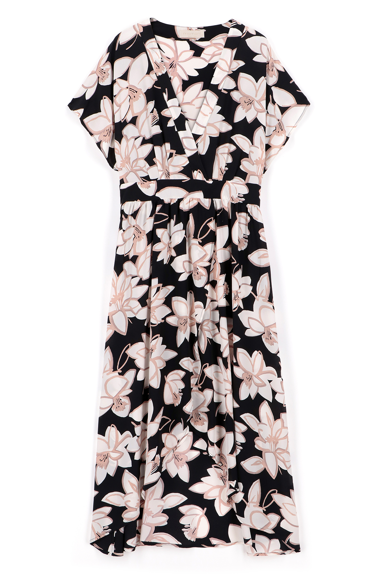 Crepe de chine dress with black and pink floral print MOMONI |  | MODR0079041