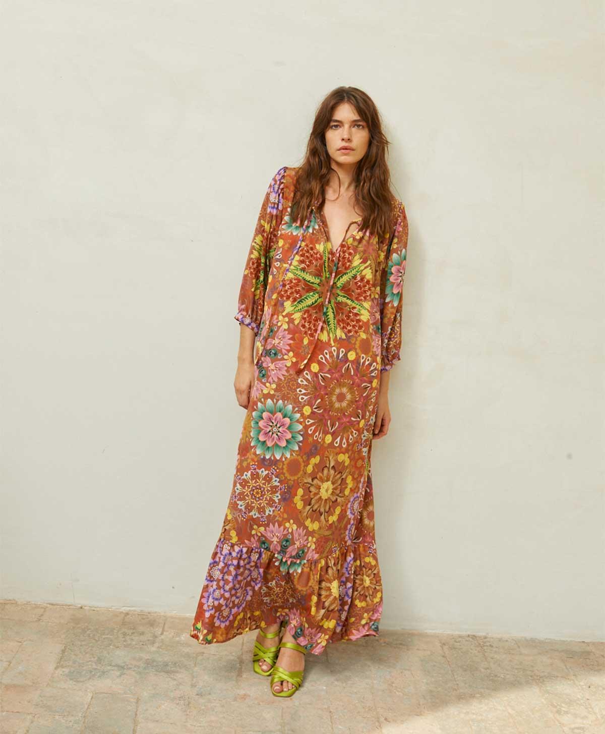 Oversized dress in brick patterned crepe de chine MOMONI |  | MODR0086264