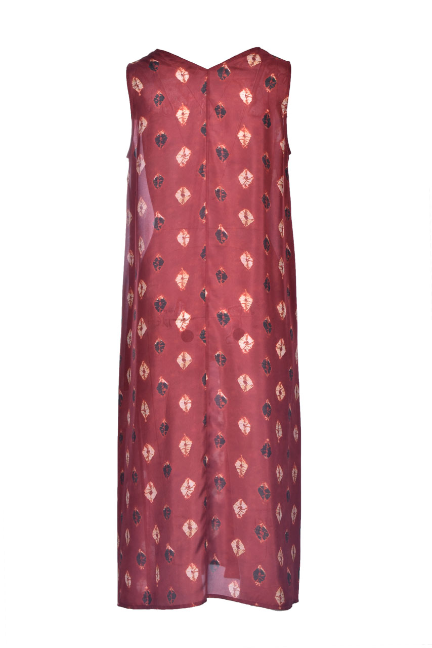 Dress in burgundy and beige Habutay print MOMONI |  | MODR0104026