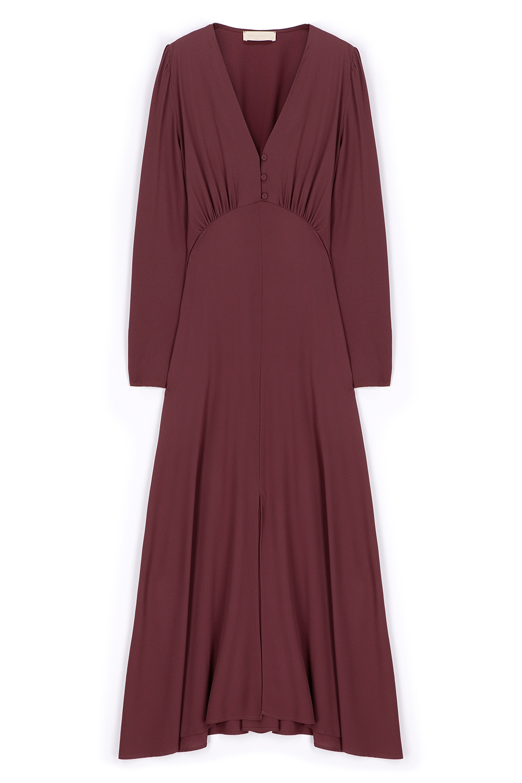 Dress in plum silk blend fabric MOMONI | Dresses | MODR014/20460