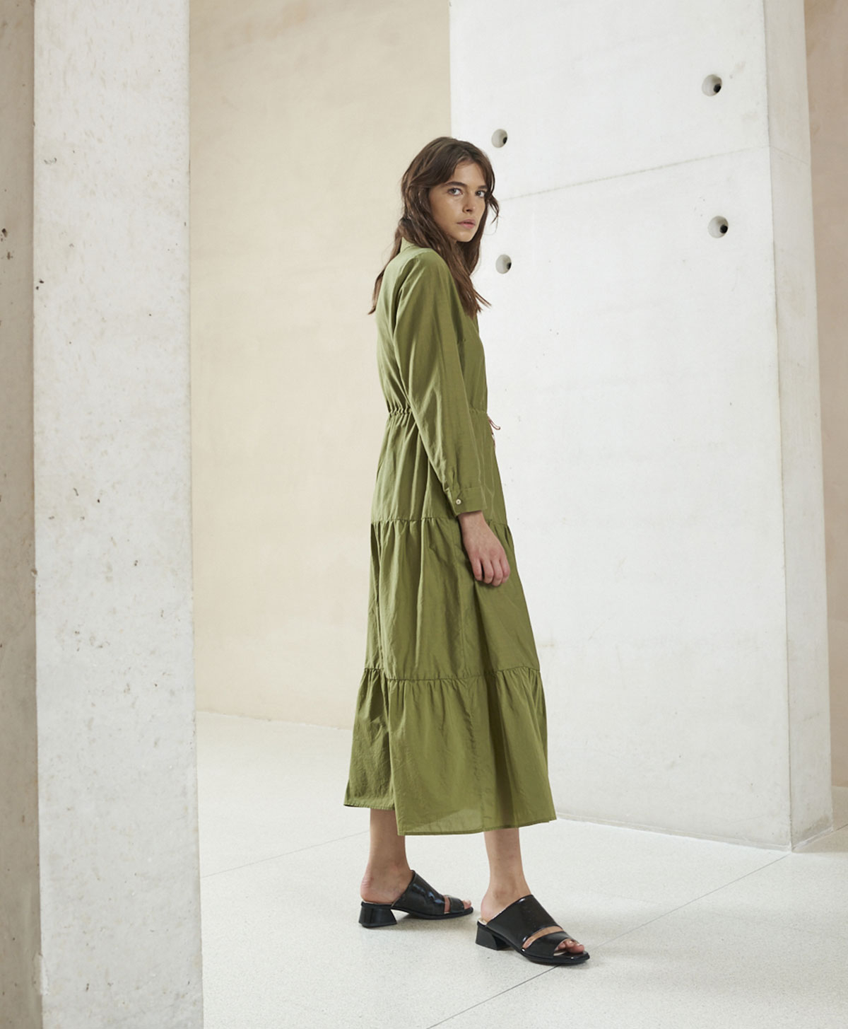 Chemisier in sage green cotton and silk blend MOMONI |  | MODR0170730