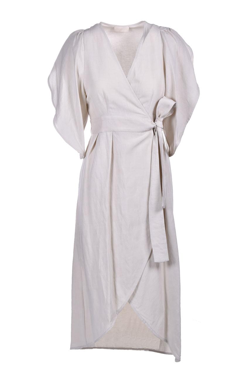 Vestito a portafoglio in viscosa e lino MOMONI   Vestiti   MODR0260040