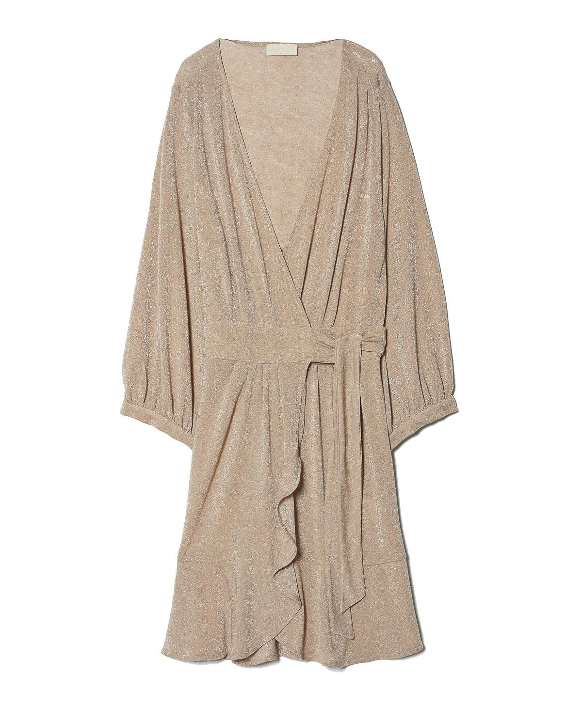 Vestito corto a portafoglio in jersey lurex cipria MOMONI | Vestiti | MODR0290400