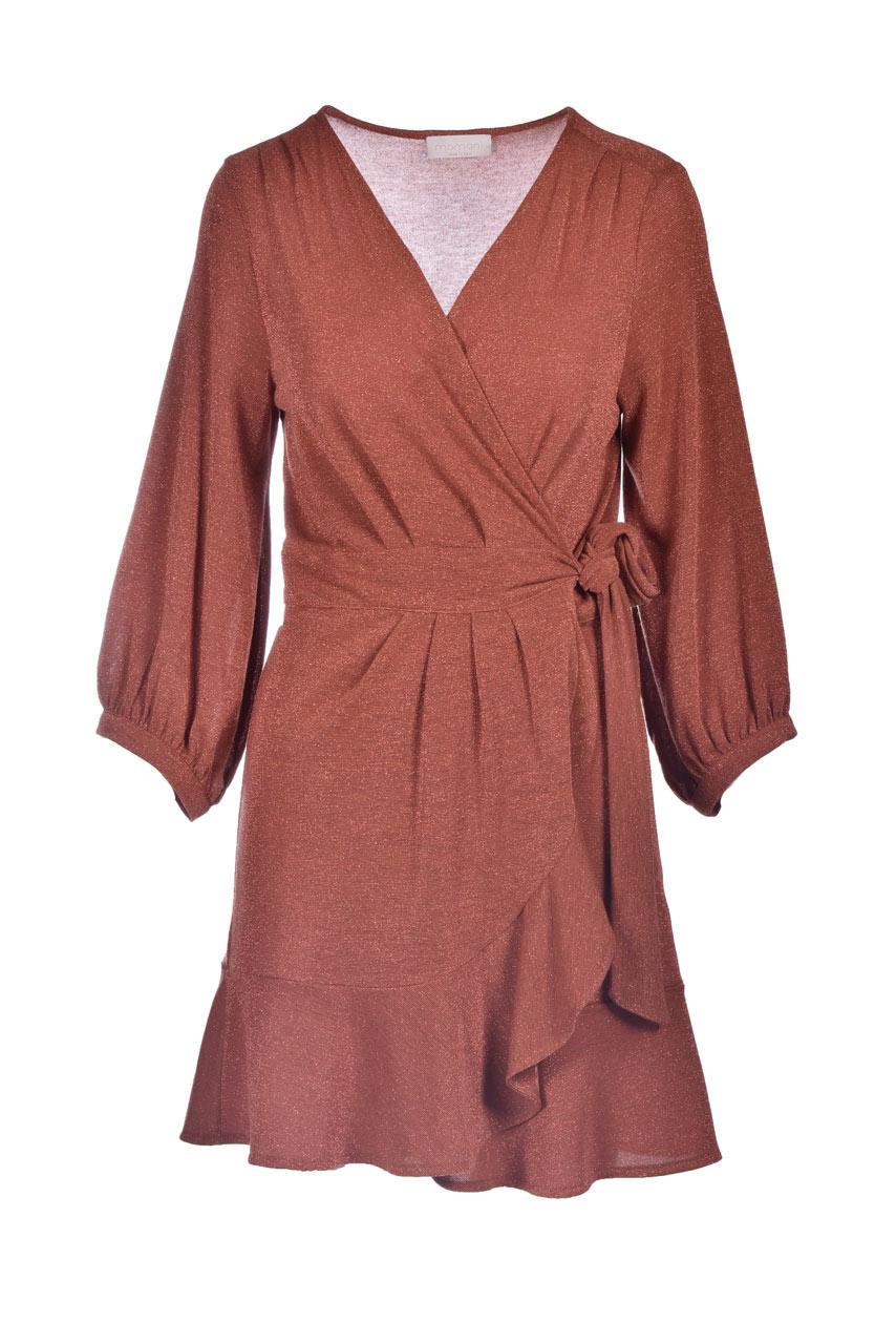 Short wrap dress in burnt lurex jersey MOMONI |  | MODR0290618