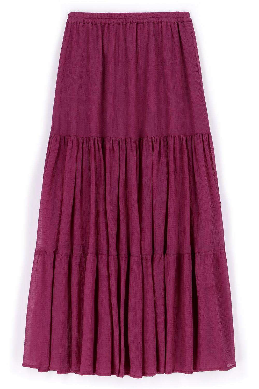 Long skirt in cyclamen seersucker voile MOMONI |  | MOSK0010455