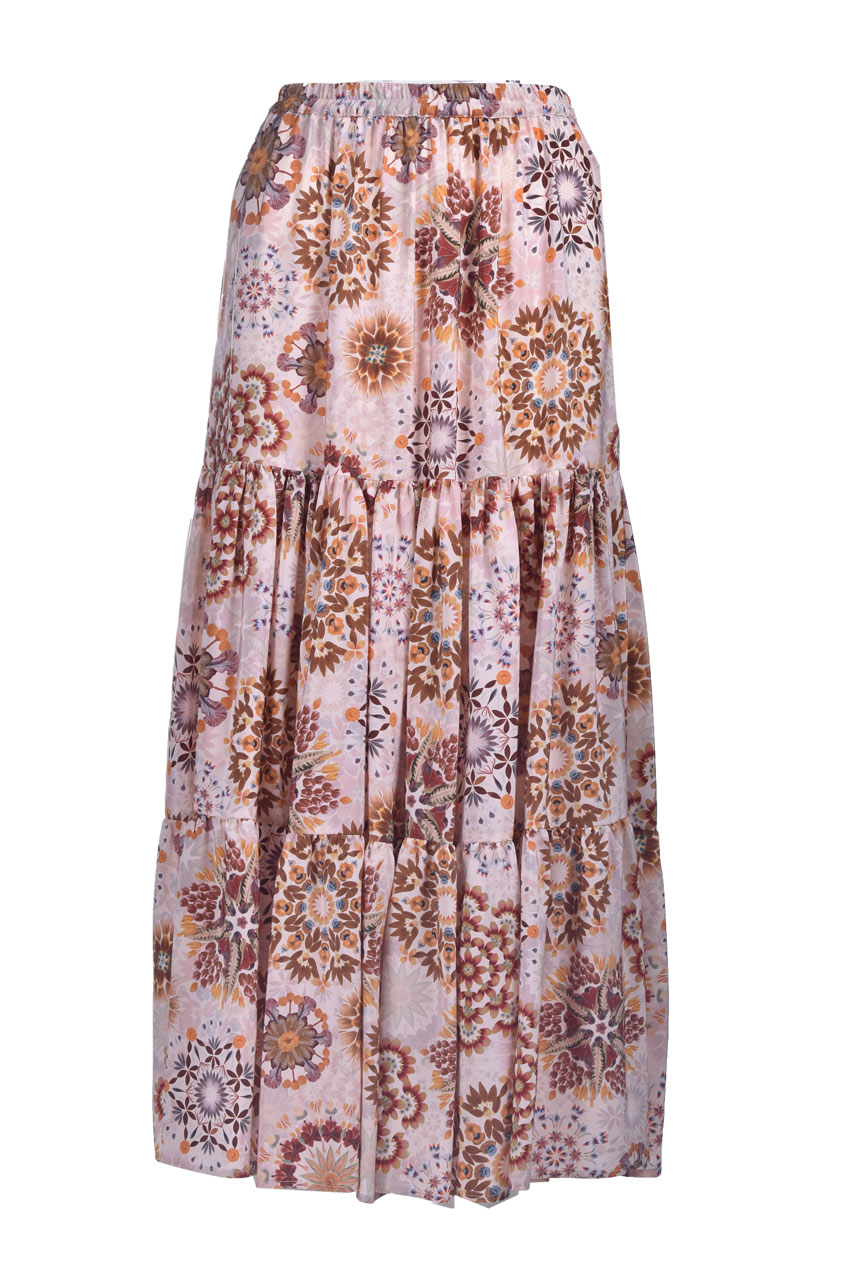 Gonna lunga in crepe de chine in stampa panna e rosa MOMONI | Gonne | MOSK0011028