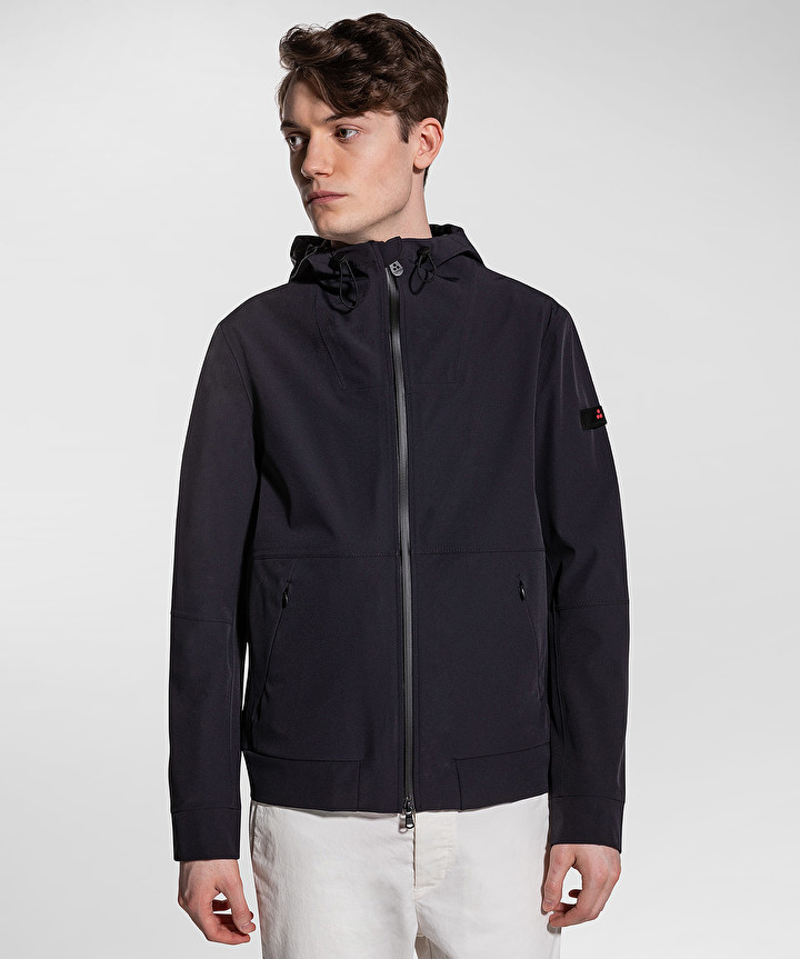 Regular fit flap bomber in smooth graphite blue fabric PEUTEREY | Jackets | PEU3535215