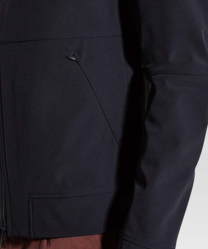 Regular fit bomber mangole in smooth graphite blue fabric PEUTEREY | Jackets | PEU3536215