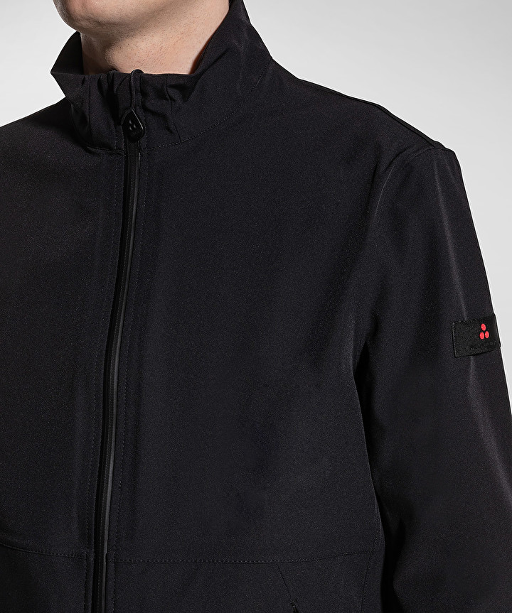 Regular fit bomber mangole in smooth black fabric PEUTEREY | Jackets | PEU3536NER