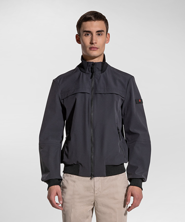 Potosi regular fit bomber in graphite blue stretch fabric PEUTEREY | Jackets | PEU3928215