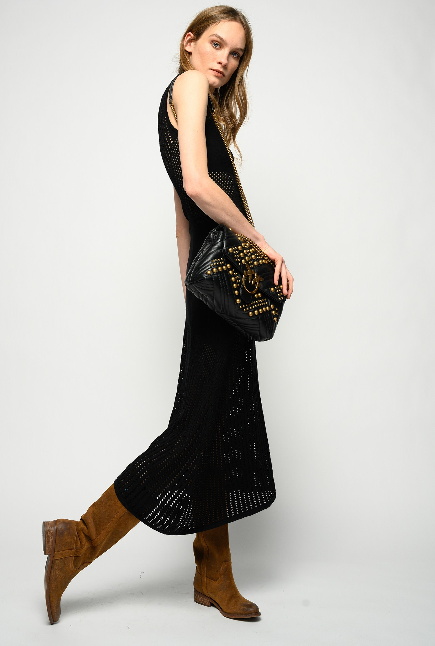 Long dress in black perforated knit PINKO |  | 1G15QE-Y6SZZ99