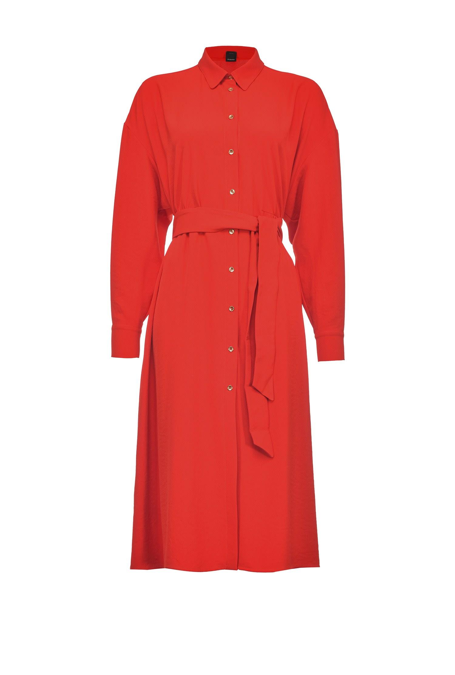 Abito chemisier midi rosso con cintura PINKO | Vestiti | 1G15Y5-8270R73