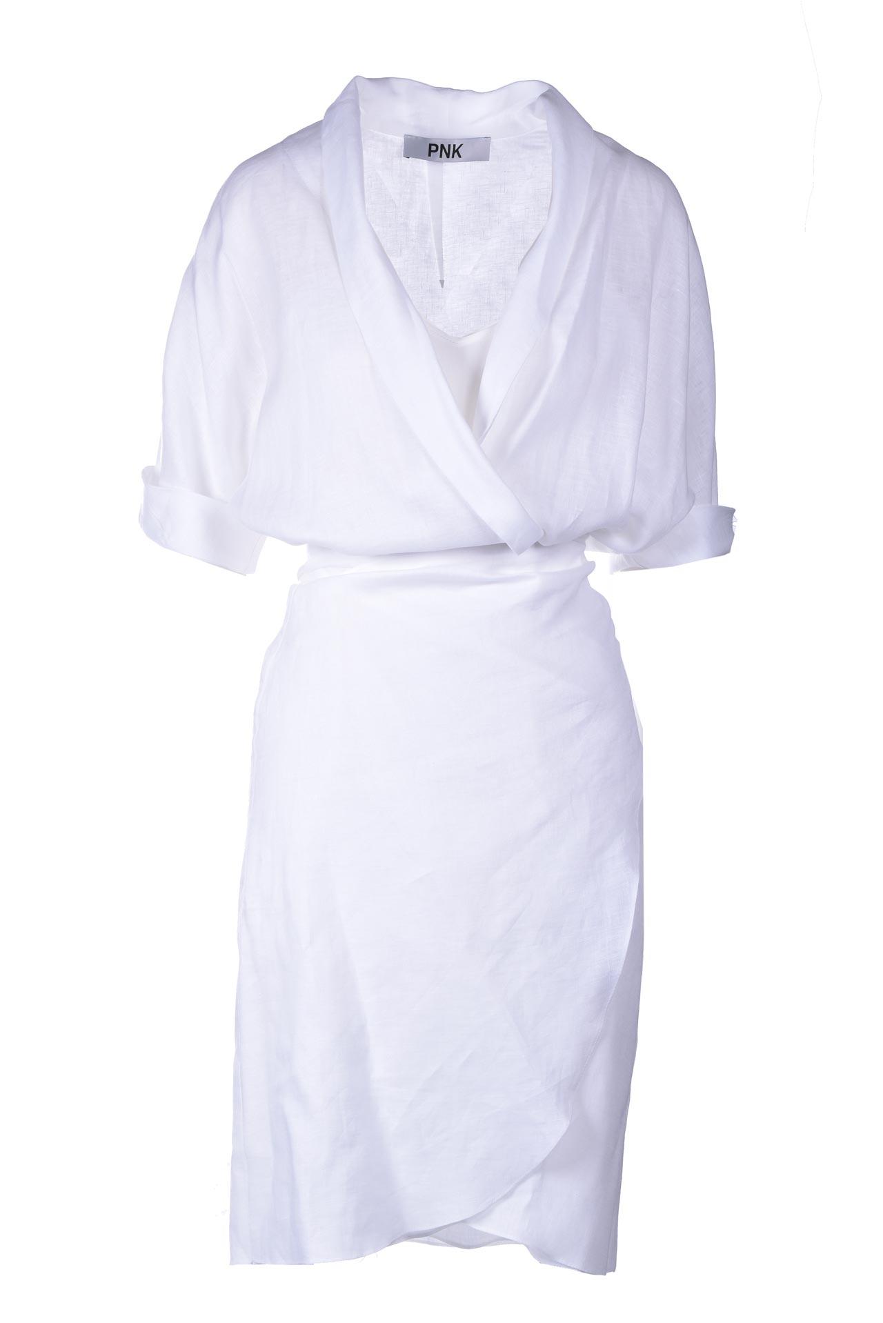 White linen mini dress with crossover PNK |  | D10WHITE