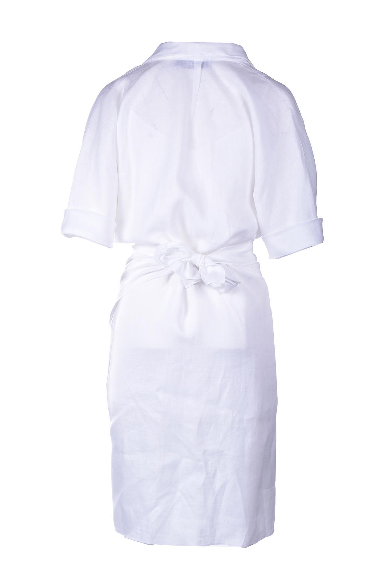 Mini dress in lino bianco con incrocio PNK | Vestiti | D10WHITE