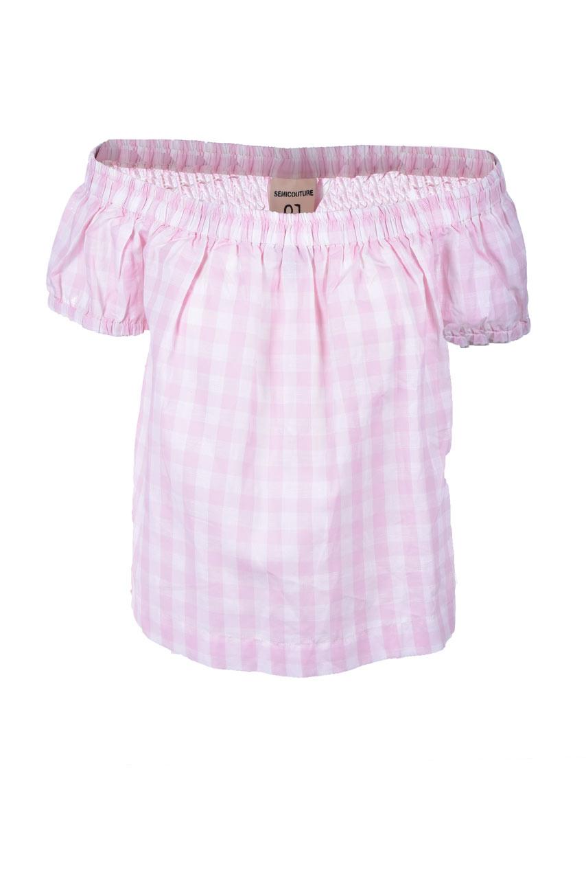 Top ampio in vichy rosa con spalle nude SEMICOUTURE | Tops | Y1SF01V04