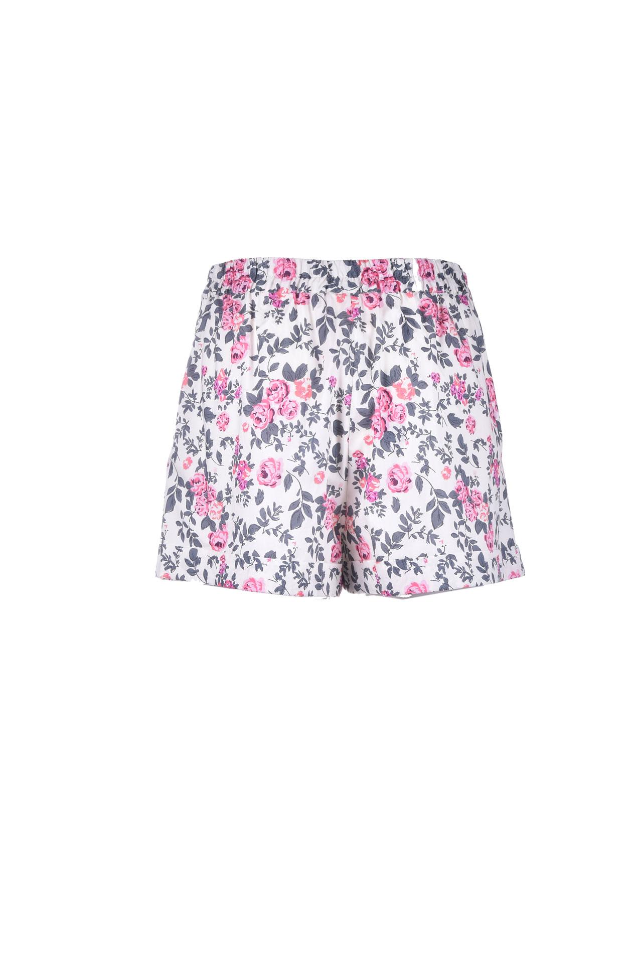 Short corto in cotone floreale effetto raso SEMICOUTURE   Shorts   Y1SR01FAN54