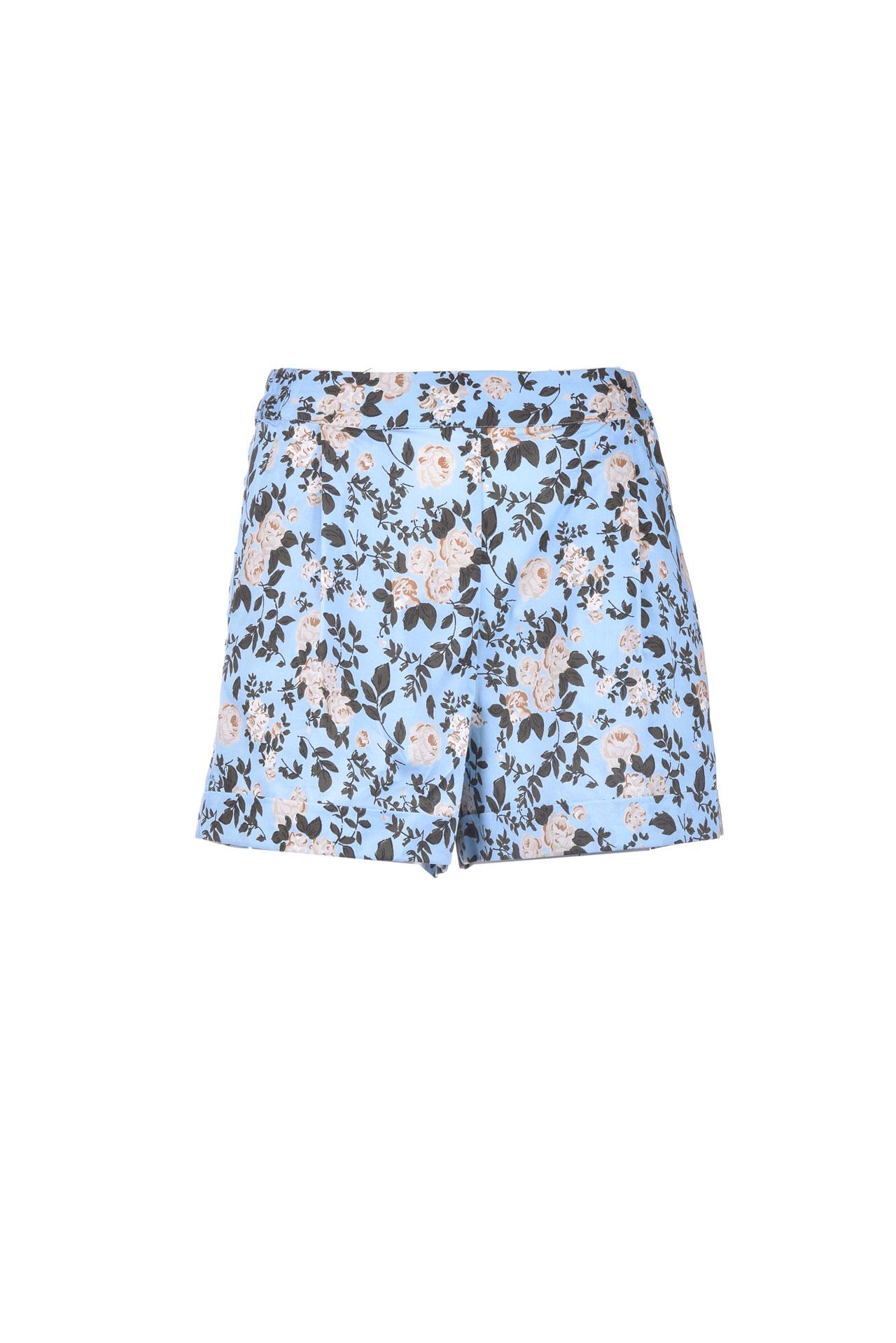 Short short in satin effect floral cotton SEMICOUTURE | Shorts | Y1SR01FAN55
